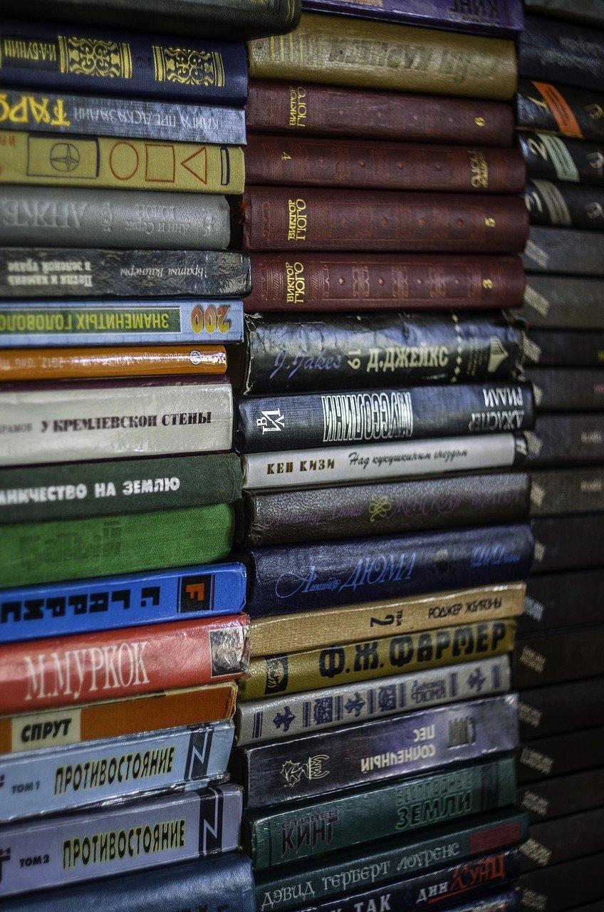 books, pile, literature